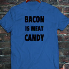 BACON IS MEAT CANDY BREAKFAST FUNNY HUMOR FOOD Mens Blue T-Shirt