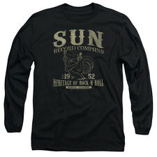 Sun Records Rockabilly Bird Mens Long Sleeve Shirt Black