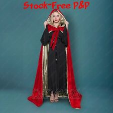 2017 Lined Gold Velvet Red Cosplay Cloak Cape Wedding Wicca SCA LOTR LARP Goth