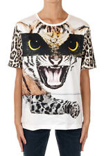 ROBERTO CAVALLI New Woman Front Printed Tee T-shirt Cotton Round Neck NWT
