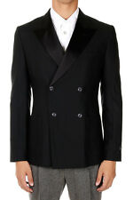 MARC JACOBS Men Double Breasted Virgin Wool Black Blazer Jacket Italy Made