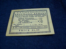"""R. N. LINN'S"" CELEBRATED RHEUMATIC REMEDY"" ADVERTISING DOSAGE & PRICE CARD"