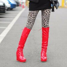 Womens Synthetic Leather High Heels Wedges & Platforms Knee High Boots Shoes