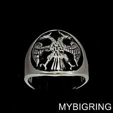 ROUND STERLING SILVER MENS BAND RING TWIN HEAD EAGLE COAT OF ARMS SEAL ANY SIZE