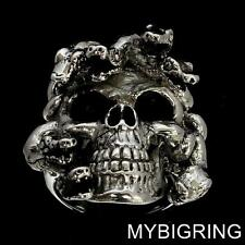HUGE STERLING SILVER WITCH GOTHIC RING SKULL OF THE MEDUSA WITH SNAKES ANY SIZE