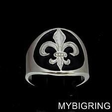 ROUND STERLING SILVER MEDIEVAL MENS BAND RING FLEUR DE LIS LILY BLACK ANY SIZE