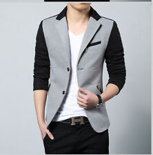Men's 2015 New Fashion stitching Blazer Suit Slim Fit Two Button Casual Jacket
