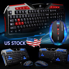 Gaming wireless 2.4G Keyboard Mouse Set Kit For Computer PC Multimedia Gamer US