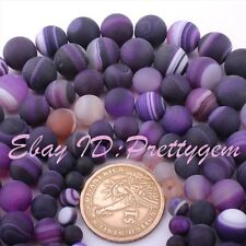 "Round Agate Stripe Purple Frost Matte Gemstone Beads Strand 15"" 6,8,10,12mm"