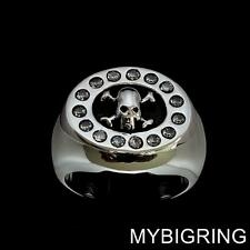 STERLING SILVER MENS BIKER RING CROSSED BONES SKULL SURROUNDED BY CZ ANY SIZE