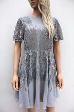 Asos Silver Sparkle Embellished Sequin Mini Skater Swing Party Dress 8 36 New