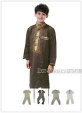 Boys Kids Thobe Thoub Robe Daffah Dishdasha Islamic Arabian 2Pcs Kaftan Clothes