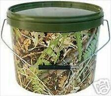 2 x CAMO BAIT BUCKETS + LIDS AND HANDLE ALL SIZES FOR CARP / MATCH / SEA FISHING