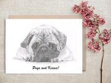 PUG dog Limited Edit art drawing prints 2 sizes A4/A3 & Card available