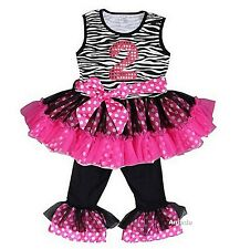 Glitter 2nd Black Hot Pink Zebra Ruffled Top Pants Set Birthday Outfit