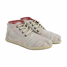 Toms Womens Desert Botas Womens Gray Textile Casual Dress Lace Up Chukkas Shoes