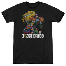 Judge Dredd Bike And Badge Mens Adult Heather Ringer Shirt Black