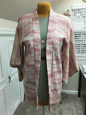 """Vintage Happi Coat Kimono Dusty pink w/cream outlined flowers. Lined 32"""""""
