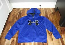 UNDER ARMOUR BOYS' LOGO UA FULL ZIP HOODIE ROYAL BLUE SIZE 6 EUC