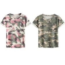 Women's Short Sleeve Disruptive Pattern T-shirt Casual Round Neck Tops Basic Tee