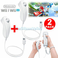2 PCS Nunchuck Controller for Nintendo Wii Console Video Game Remote White NEW