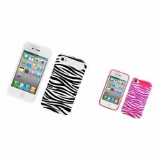 Two-Tone/NightGlow Zebra Jelly Hybrid Hard Silicone Case For Apple iPhone 4 / 4S