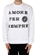 DOLCE&GABBANA New Men WHITE Round neck Sweatshirt AMORE PER SEMPRE Made in Italy