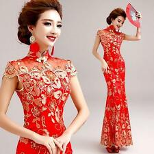 Chinese Womens Cheongsam Red Lace Embroidery Prom Party Wedding Ball Gown Dress