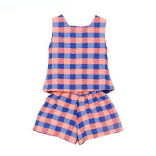 1Set New Toddler Kids Baby Girls Outfit Clothes Plaid Vest T-Shirt+Short Pants