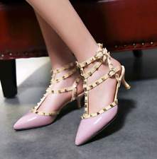 New Women's High Heel Pointed Shoes Studded Pumps Ankle Strap Sandals UK Size