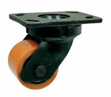 LOW LEVEL SWIVEL & FIXED CASTOR 500-700kg BROWN POLY CAST/WHITE NYLON TOP PLAT