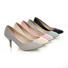 New Women's Slim Mid Heels Pointed Causal Shoes Synthetic Leather Pumps Size