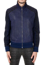 NEIL BARRETT New Men Blue Leather Zipped Jacket Made in Italy