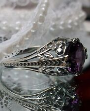 *Amethyst* Art Deco Floral Sterling Silver Floral Filigree Ring Size: MTO/Custom