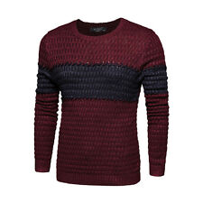Men Crewneck Color Block Long Sleeves Fish Scale Knit Pullover Sweater