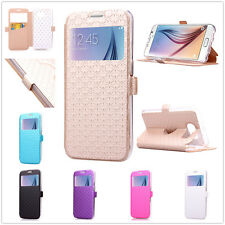 New Leather Card Side Buckle Flip View Window Case Cover Stand For Mobile Phones