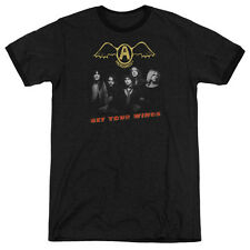 Aerosmith Get Your Wings Mens Adult Heather Ringer Shirt Black