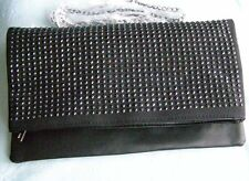 Black Clutch Bag Clasp/Zip Fastening W32cm -H19cm Faux Leather Medium