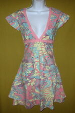 SIZE 8, 12 LOLA ESPELETA SLEEVELESS COTTON KNEE DRESS PINK YELLOW BLUE