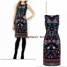 MONSOON CLAUDIA NAVY BLUE MULTI INDIAN INSPIRED FLORAL TEA DRESS SIZE 10-18 NEW