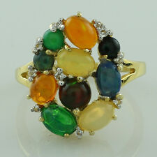 Green Ethiopian Opal,Topaz 925 Sterling Silver Right Hand 2.41 ctw Ring GSR1167