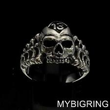 LUCKY NUMBER 13 STERLING SILVER MENS BIKER RING RIPPER SKULL AND BONES ANY SIZE