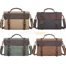 Vintage Men Military Canvas Leather Laptop Satchel Shoulder School Messenger Bag