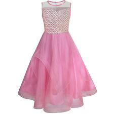 Flower Girls Dress Embroidered Sequin Wedding Pageant Bridesmaid Size 7-14 Party