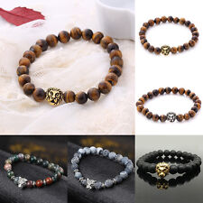Fashion Men's Lava Stone Gold/Silver Lion Beaded Cuff Bangle Bracelet Cool