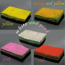 Green Grass Mat Railway Garden Model Train Layout 20 x 30cm with Colorful Flower