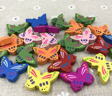 Wooden Mixed butterfly Loose Bead craft beads Necklace Accessories 25mm