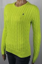 Ralph Lauren Neon Yellow Cotton Cable Knit Crewneck Sweater Blue Pony NWT