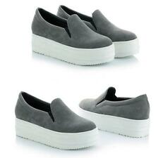 New Womens Wedge Heel Faux Suede Slip On Casual Sneakers Creeper Platform Shoes
