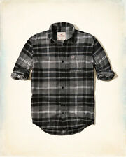 NWT Hollister by Abercrombie&Fitch Mens Plaid Flannel Shirt Grey 100%Cotton